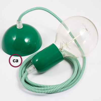 Hanging Lamp, pendel fabric cable ZigZag Green RZ06 2mt. Green Metal Rose and Lampholder.