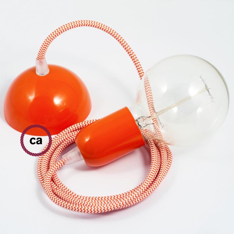 Hanging Lamp, pendel fabric cable ZigZag Orange RZ15 2mt. Orange Metal Rose and Lampholder.