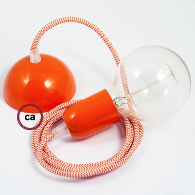 Hanging Lamp, pendel fabric cable ZigZag Orange RZ15 2mt. Orange Metal Rose and Lampholder.