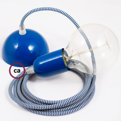 Hanging Lamp, pendel fabric cable Blue RZ12 2mt. Blue Metal Rose and Lampholder.