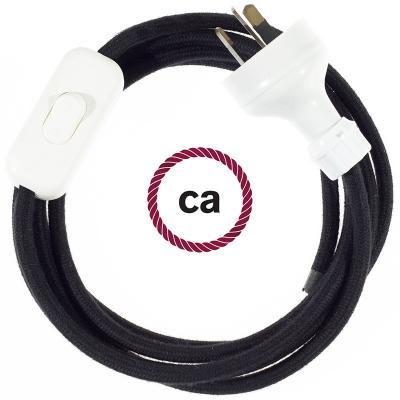 Wiring Black Cotton textile cable RC04 - 1.80 mt