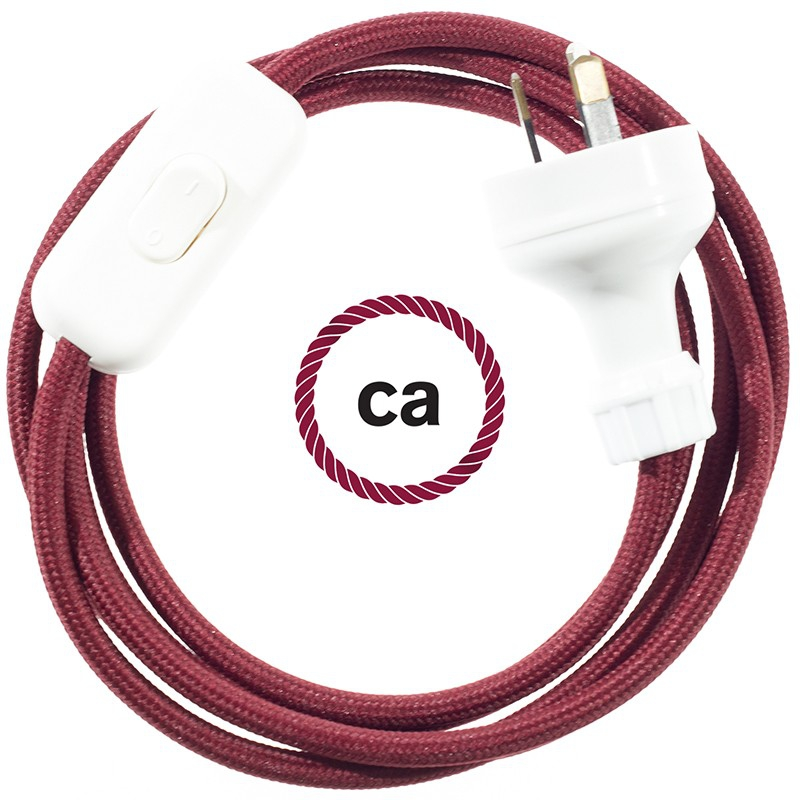 Wiring Burgundy Rayon textile cable RM19 - 1.80 mt