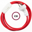 Wiring Red Rayon textile cable RM09 - 1.80 mt