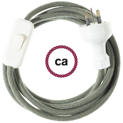 Wiring Grey Green Cotton textile cable RC63 - 1.80 mt
