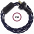 Wiring Dark Blue Rayon textile cable TM20 - 1.80 mt