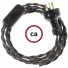 Wiring Anthracite Natural Linen textile cable TN03 - 1.80 mt