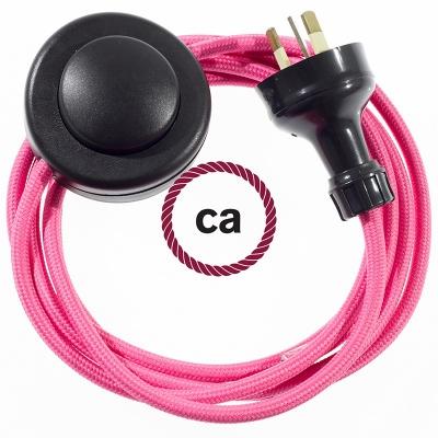 Wiring Pedestal Fuchsia Rayon textile cable RM08 - 3 mt