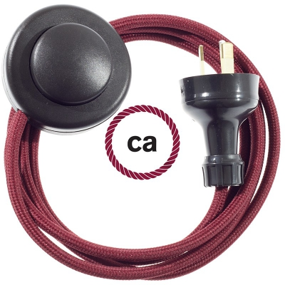 Wiring Pedestal Burgundy Rayon textile cable RM19 - 3 mt
