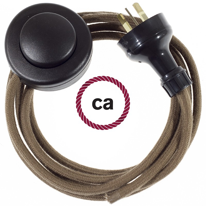 Wiring Pedestal Brown Cotton textile cable RC13 - 3 mt
