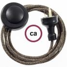 Wiring Pedestal Brown Natural Linen textile cable RN04 - 3 mt