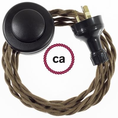 Wiring Pedestal Brown Cotton textile cable TC13 - 3 mt