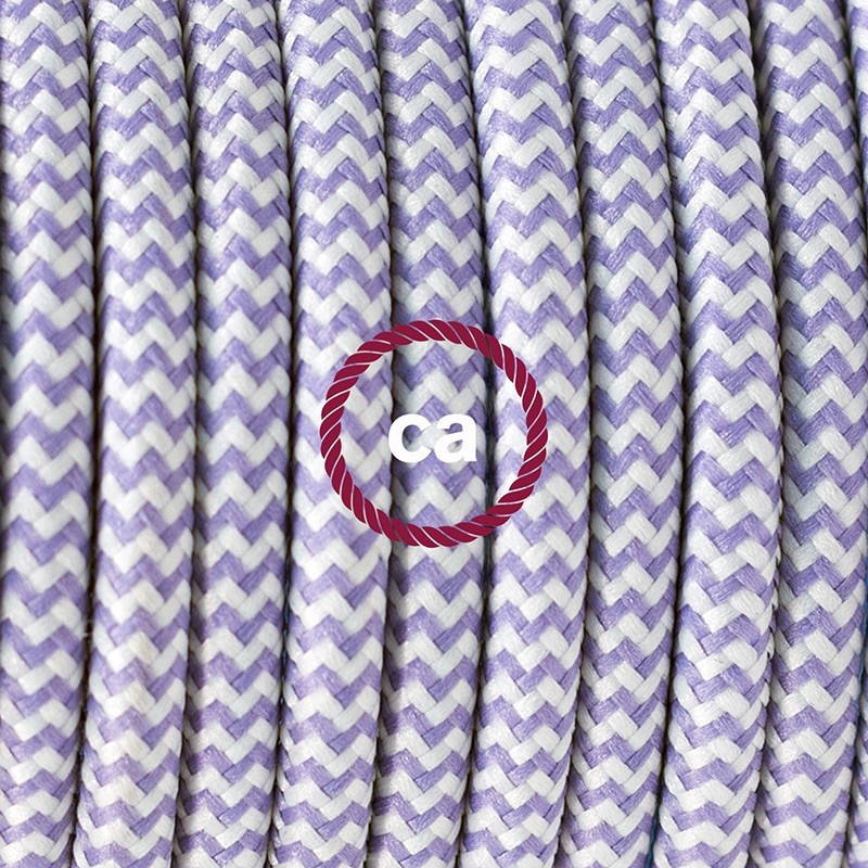 Single Pendant, suspended lamp with ZigZag Lilac textile cable RZ07