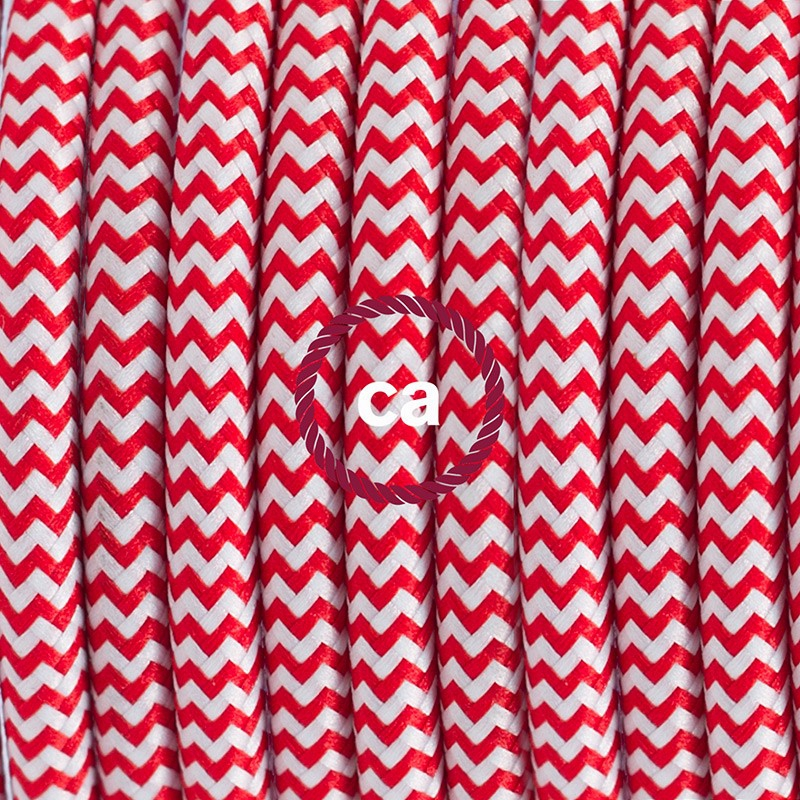 Single Pendant, suspended lamp with ZigZag Red textile cable RZ09