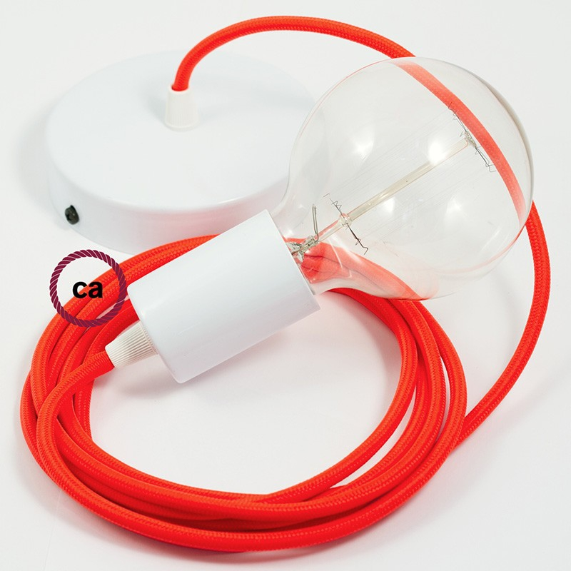 Single Pendant, suspended lamp with Orange Fluo textile cable RF15