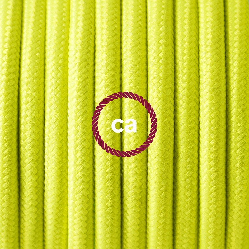 Single Pendant, suspended lamp with Yellow Fluo textile cable RF10