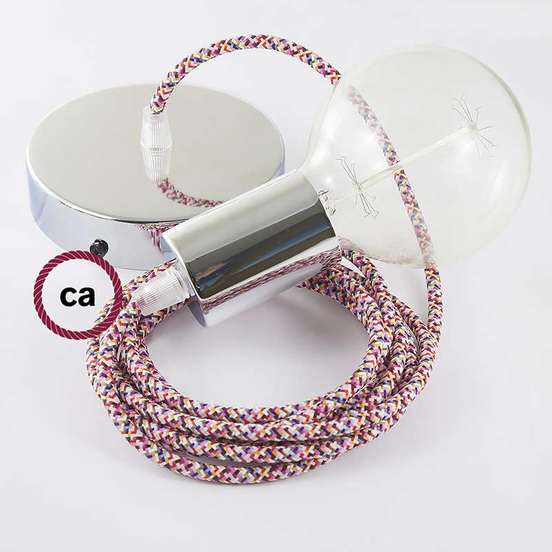 Single Pendant, suspended lamp with Pixel Fuchsia textile cable RX00