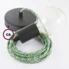 Single Pendant, suspended lamp with Pixel Green textile cable RX05