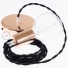 Single Pendant, suspended lamp with Black Cotton textile cable TC04