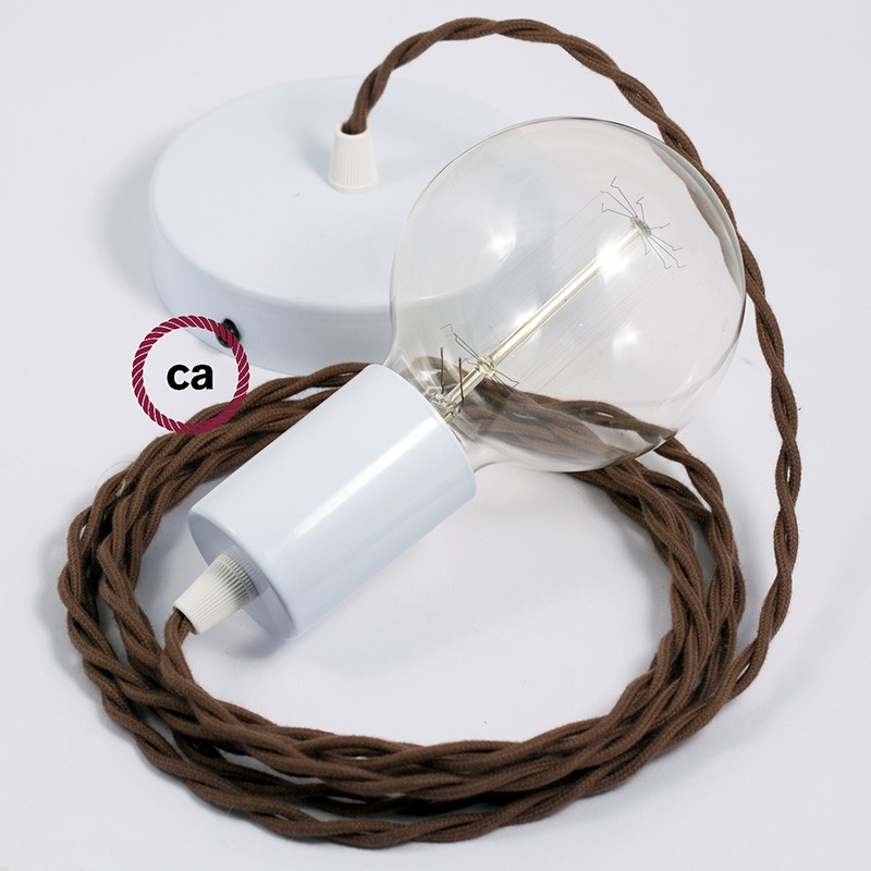 Single Pendant, suspended lamp with Brown Cotton textile cable TC13