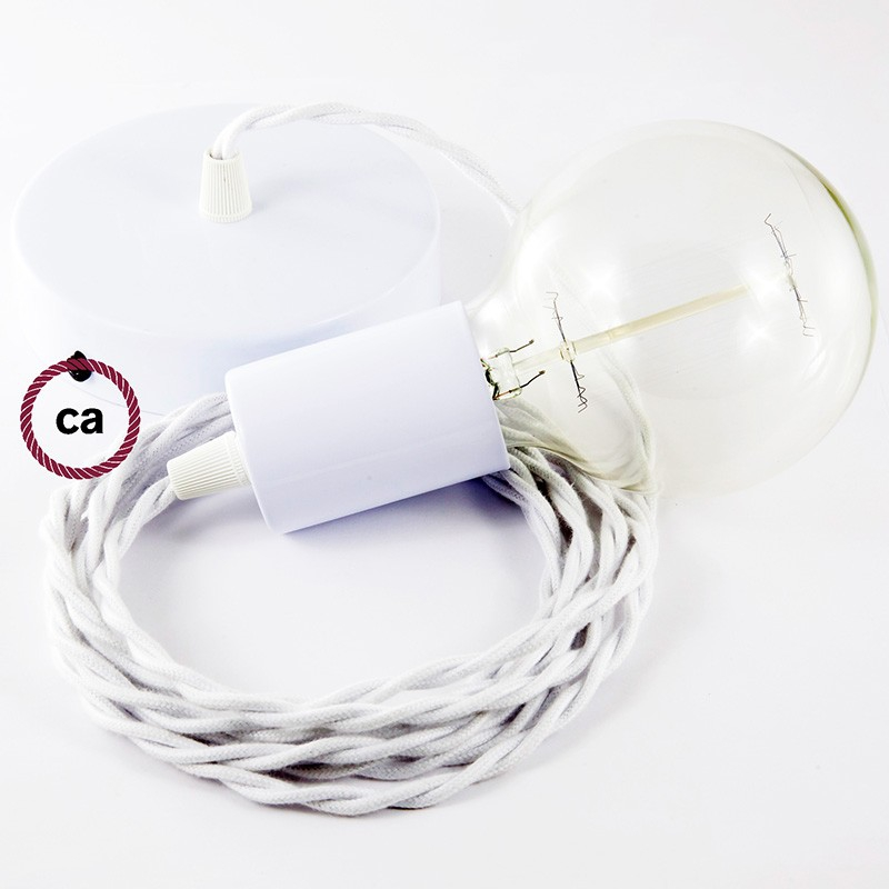Single Pendant, suspended lamp with White Cotton textile cable TC01