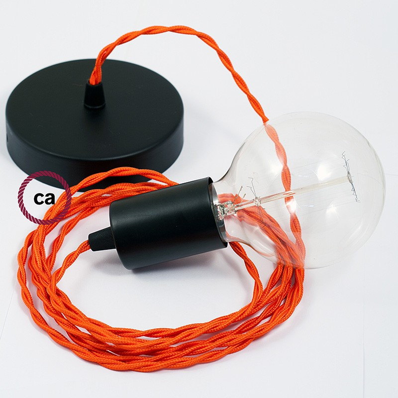 Single Pendant, suspended lamp with Orange Rayon textile cable TM15