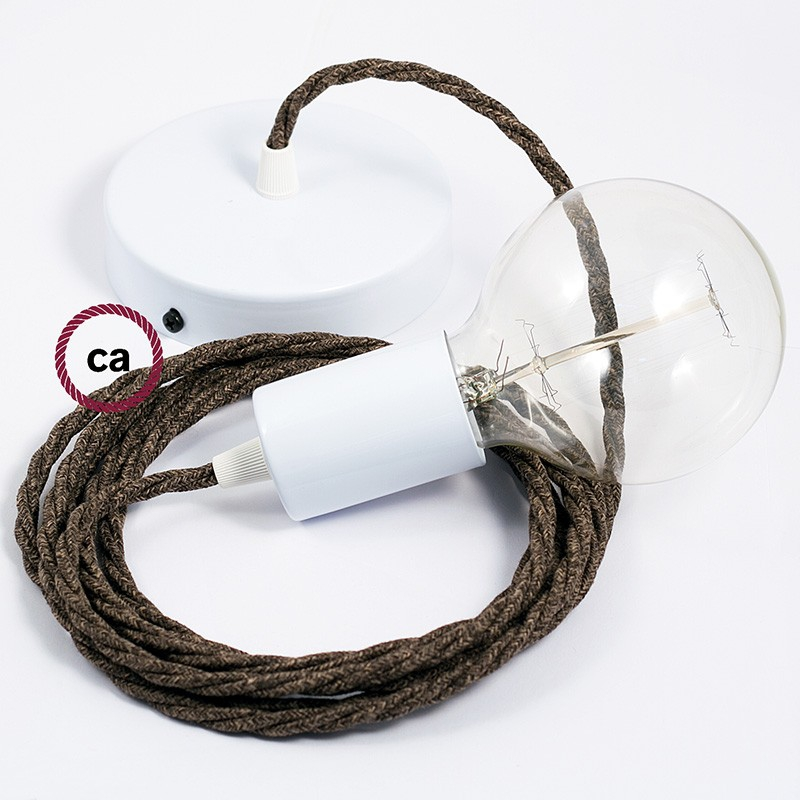 Single Pendant, suspended lamp with Brown Natural Linen textile cable TN04