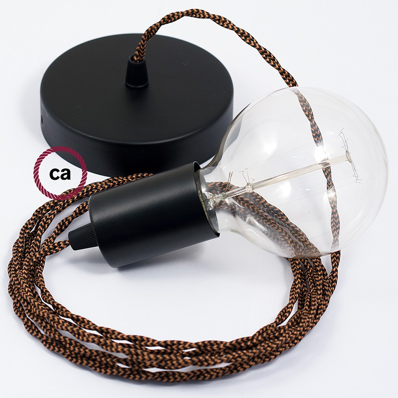 Single Pendant, suspended lamp with Black e Whiskey Rayon textile cable TZ22
