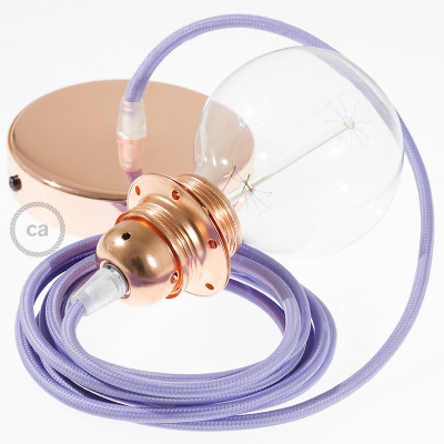 Pendant for lampshade, suspended lamp with Lilac Rayon textile cable RM07