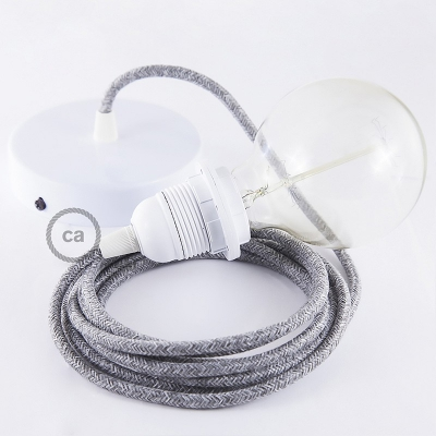 Pendant for lampshade, suspended lamp with Grey Natural Linen textile cable RN02