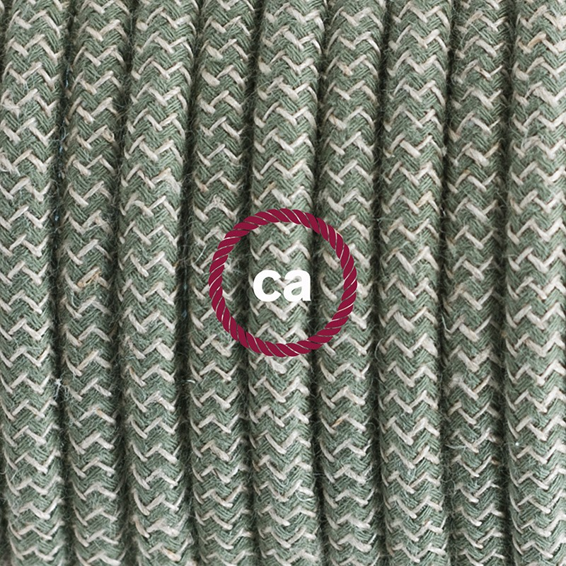 Pendant for lampshade, suspended lamp with ZigZag Green Thyme textile cable RD72