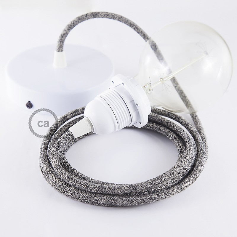 Pendant for lampshade, suspended lamp with Black Glittering Natural Linen textile cable RS81