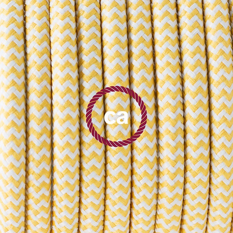 Pendant for lampshade, suspended lamp with ZigZag Yellow textile cable RZ10