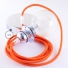 Pendant for lampshade, suspended lamp with Orange Fluo textile cable RF15