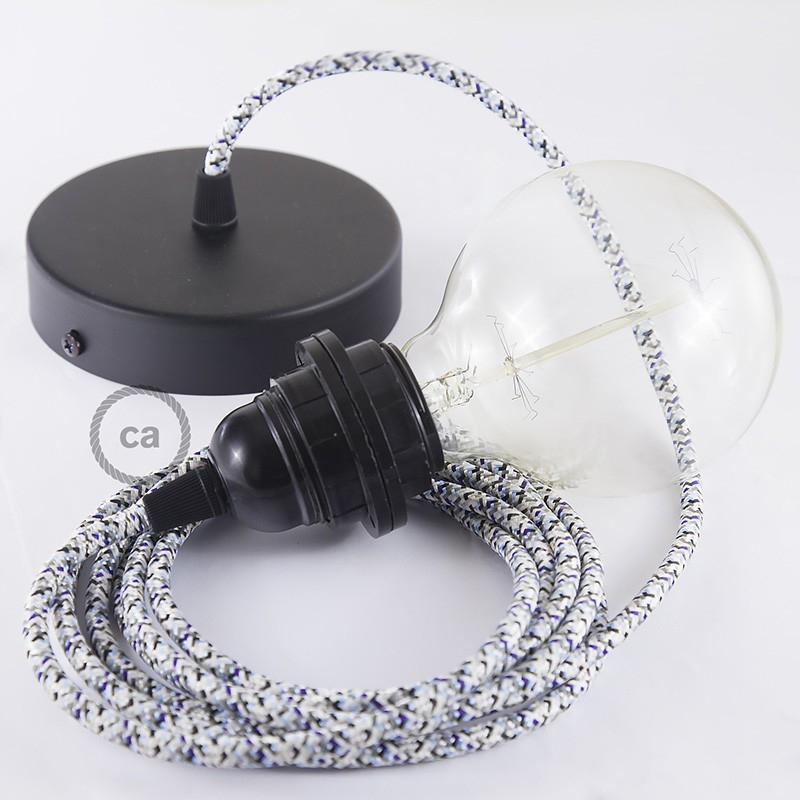 Pendant for lampshade, suspended lamp with Pixel Ice textile cable RX04
