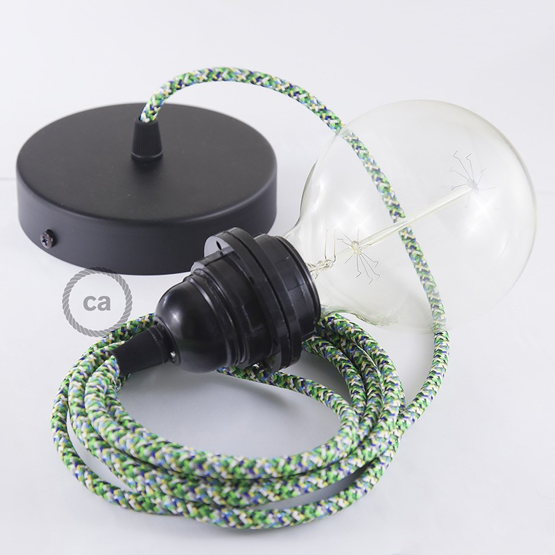 Pendant for lampshade, suspended lamp with Pixel Green textile cable RX05