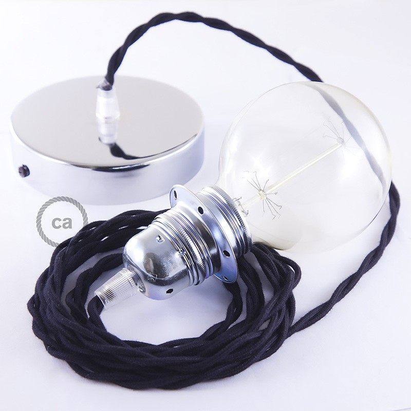 Pendant for lampshade, suspended lamp with Black Cotton textile cable TC04