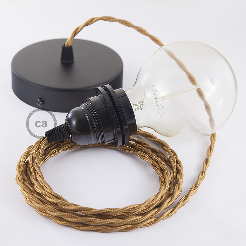 Pendant for lampshade, suspended lamp with Whiskey Rayon textile cable TM22