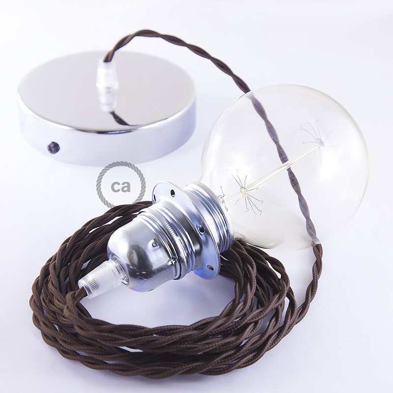 Pendant for lampshade, suspended lamp with Brown Rayon textile cable TM13