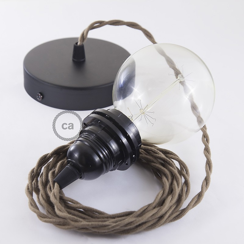 Pendant for lampshade, suspended lamp with Brown Cotton textile cable TC13