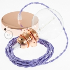 Pendant for lampshade, suspended lamp with Lilac Rayon textile cable TM07