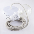 Pendant for lampshade, suspended lamp with Neutral Natural Linen textile cable TN01