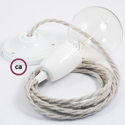 Porcelain Pendant, suspended lamp with Neutral Natural Linen textile cable TN01