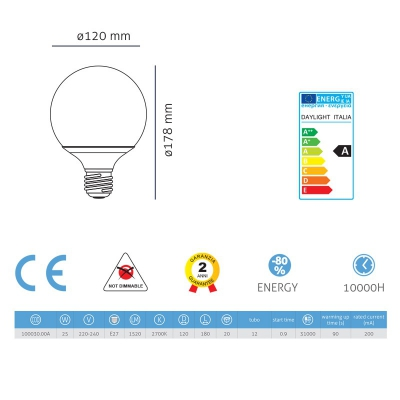 Light bulb energy saving Globe 120 25W E27