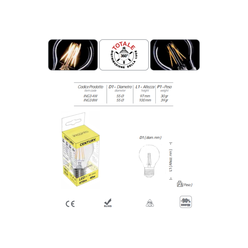 INCANTO LED DROP - 4W - E27 - 2700K - 470Lm