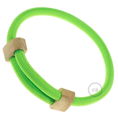 Creative-Bracelet in Rayon Fluo Green fabric RF06. Wood sliding fastening. Made in Italy.
