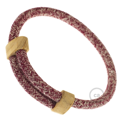 Creative-Bracelet in Burgundy Tweed Cotton, Natural Linen and finishing Glitter RS83. Wood sliding fastening. Made in Italy.