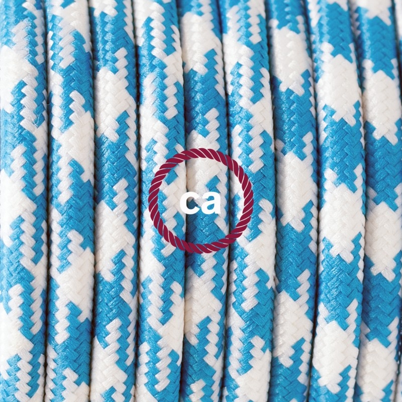 TO209 Turquoise Houndstooth Round Electric Cable covered by Rayon fabric