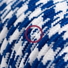 TO210 Blue Houndstooth Round Electric Cable covered by Rayon fabric