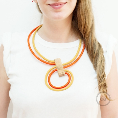 Infinity necklace adjustable bicolor Mustard RM25 and Orange RM15.