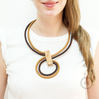 Infinity necklace adjustable bicolor Whiskey RM22 and Brown RM13.